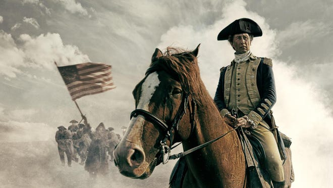 "The rebellious colonies name a general to command the Continental Army in the miniseries biography ""Washington."""
