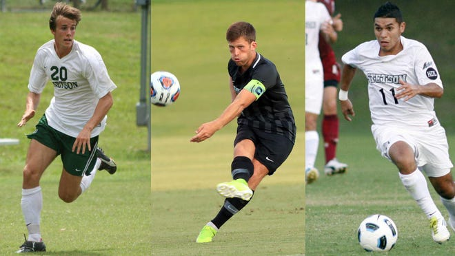 Stetson's Fredrik Brustad, from left, Ian McCauley and Jonathan Mendoza were named to the ASUN All-Decade men's soccer team.