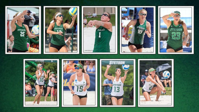 Julie Bassett, Kaley Melville, Maren Rygh, Kristin Lind, Darby Dunn, Sammee Thomas, Rachel Noble, Carly Perales and Sunniva Helland-Hansen were among the 20 student-athletes from Stetson honored by the ASUN as members of the conference's All-Decade Team in beach volleyball.