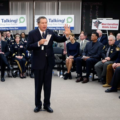 Ohio Gov. John Kasich speaks about a drug abuse prevention initiative in the state Jan. 8, 2014, at West Carrollton Middle School in West Carrollton.
