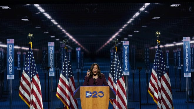 Democratic vice presidential candidate Sen. Kamala Harris, D-Calif., speaks during the third day of the Democratic National Convention Wednesday at the Chase Center in Wilmington, Del.