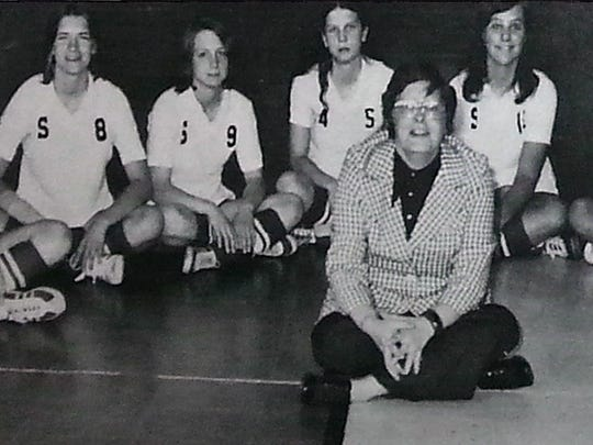 Carolyn Adams, center, led Susquehannock to its first team state title in 1974 -- the first year Pennsylvania crowned a volleyball champ. She also helped start the boys' volleyball program at the school. The stern task-master also had her soft edges, her players and colleagues remember. She died recently at 76.