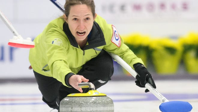 Carol Strojny of  Mendota Heights, Minnesota, competes in the 2012 USA Curling National Championships at IceWorks Skating Complex in Aston, Pennsylvania.