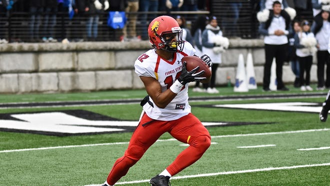 Ferris State sophomore Malik Taylor returns a kickoff during the Bulldogs' 47-32 win over Grand Valley State in the Division II quarterfinal Saturday, Dec. 3, 2016 at Lubber's Stadium in Allendale.