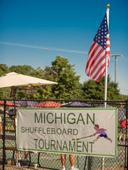 Michigan Shuffleboard Tournament at Bailey Park on Tuesday.