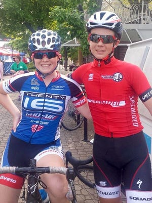 Colton Brookshire, right, seen here with his sister, Isabella Brookshire, was the first to finish the Collier Lilly 50-mile bike ride at the Mountain Sports Festival on Sunday.