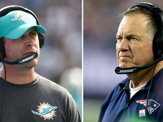 FILE - At left, in a Sept. 17, 2017, file photo, Miami Dolphins head coach Adam Gase looks on during during an NFL football game against the Los Angeles Chargers, in Carson, Calif. At right, in an Oct. 22, 2017, file photo, New England Patriots head coach Bill Belichick watches from the sideline during the first half of an NFL football game against the Atlanta Falcons, in Foxborough, Mass. The Miami Dolphins' second-year coach is 0-3 against the Patriots and faces them again Monday night, Dec. 11. (AP Photo/File)