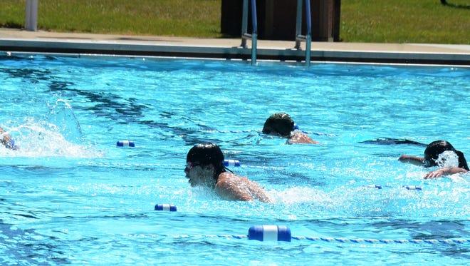 The Verona Waves swim team practices in 2016.