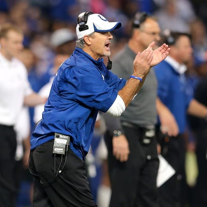 Indianapolis Colts head coach Chuck Pagano encourages