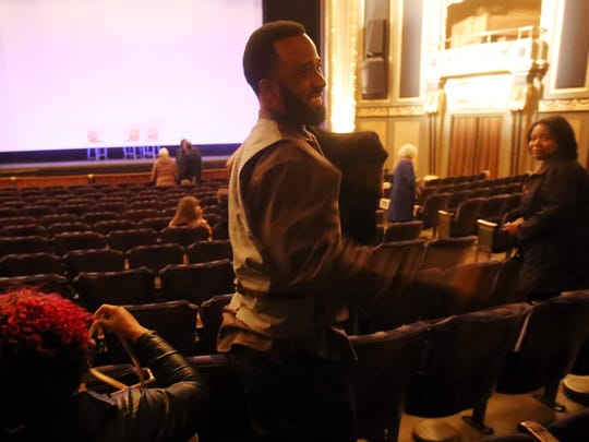 "Rodney Stewart, 44, of Detroit speaks Sunday after ""Detroit Dog City,"" a film in which he stars."