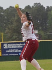 Pineville pitcher Alexis Garoutte (25) delivers a pitch
