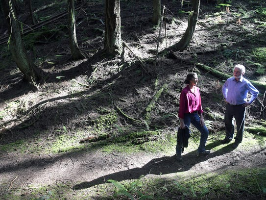 Jane Stone and David Harrison, of the Bainbridge Island Land Trust, at the Jablonko Preserve. The trust bought the 14-acre property near Gazzam Lake for $934,000 in July 2017.