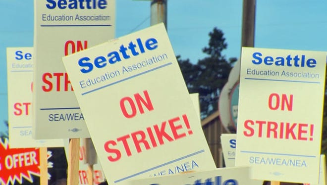 Seattle teachers had been on strike since Wednesday, Sept. 9, 2015. The teachers and the Seattle Public Schools announced a tentative agreement Tuesday, Sept. 15, 2015.