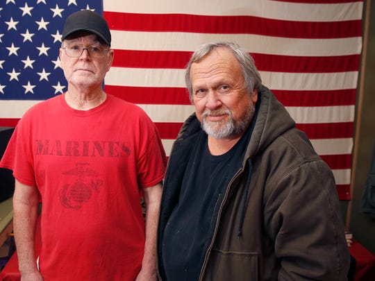 James Shepherd, 70, a Marine veteran, left, and Wayne