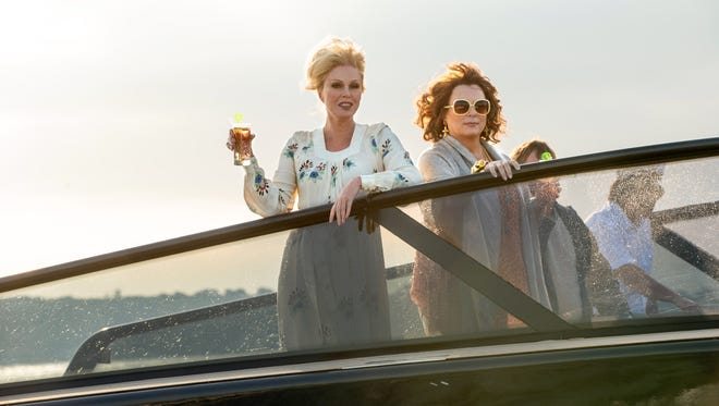 "Still fabulous after all this time: Patsy (Joanna Lumley) and Edina (Jennifer Saunders) arrive on the big screen in ""Absolutely Fabulous: The Movie."""
