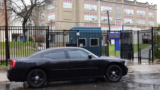 An unmarked Paterson Police car at Eastside High School.