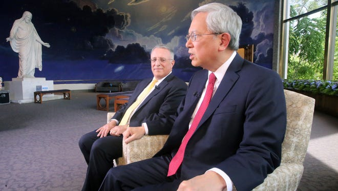 Ulisses Soares, left, and Gerrit W. Gong spoke about civility and sexual abuse issues during an interview June 28, 2018, in Salt Lake City.