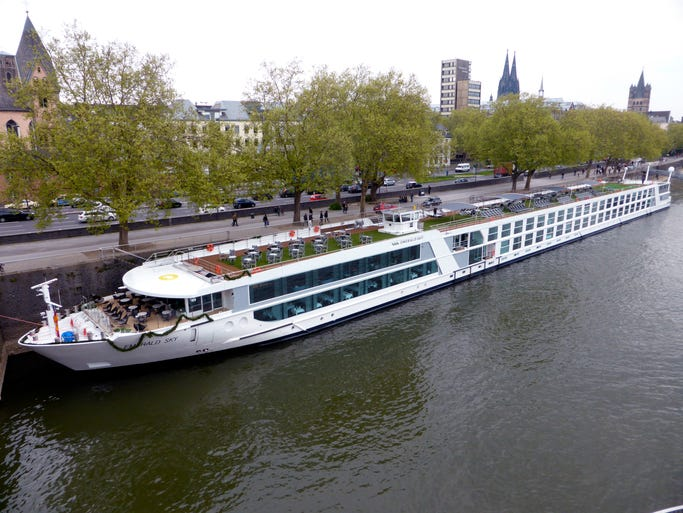 "The 443-by-38 foot, 182-guest MV Emerald Sky is the first in a four vessel platform called the ""Star Ship"" class for newly formed Emerald Waterways, a premium division of Australian-owned deluxe operator Scenic Tours."