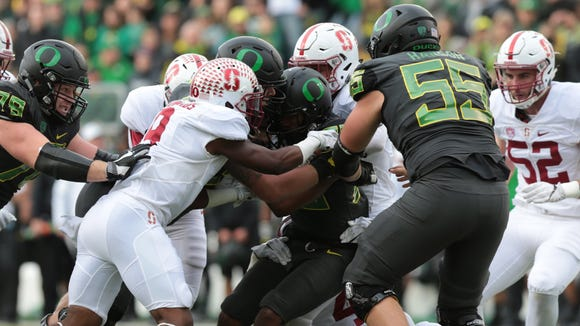 Nov 12, 2016; Eugene, OR, USA; Oregon Ducks running back Tony Brooks-James (20) carries the ball in the second quarter against the Stanford Cardinal at Autzen Stadium. Mandatory Credit: Scott Olmos-USA TODAY Sports