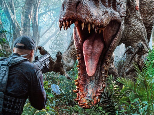 """A scene from """"Jurassic World."""" (Image courtesy Universal Pictures)"""