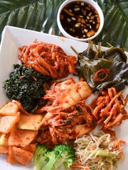 A variety of traditional Korean-style side dishes can