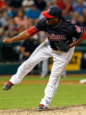 Cleveland Indians relief pitcher Perci Garner watches a pitch to the Minnesota Twins during the ninth inning of a baseball game Wednesday, Aug. 31, 2016, in Cleveland. The Indians won 8-4. (AP Photo/Ron Schwane)