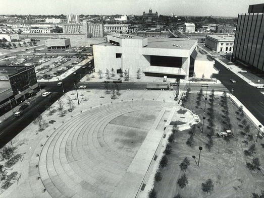 The new Nollen Plaza in downtown Des Moines on June