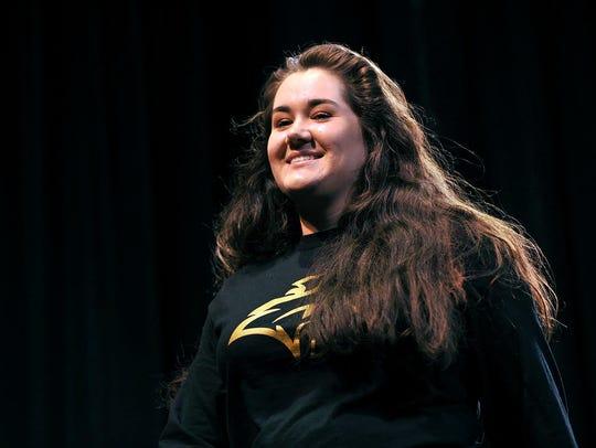 Vineland High School senior Kathryn Slusarczyk recites