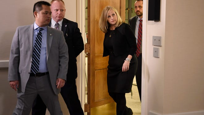 Nashville Mayor Megan Barry enters her news conference at the Metro Courthouse on Wednesday, Jan. 31, 2018, in Nashville. Barry publicly admitted that she and her police officer bodyguard had engaged in a nearly two-year extramarital affair.