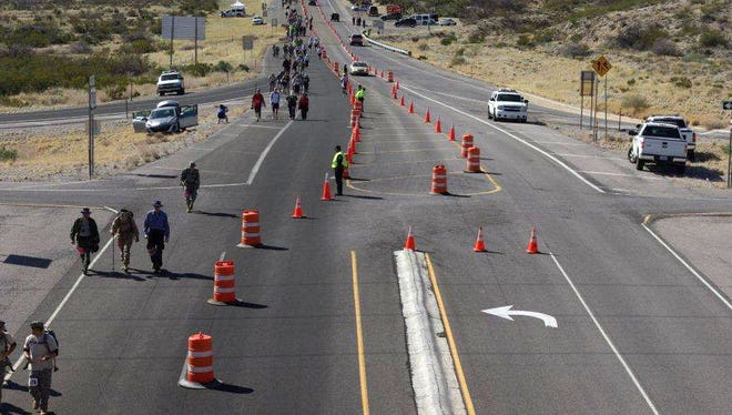 An overview look at Owen Road during the 2015 Bataan Memorial Death March. Spectators will no longer be allowed to park their vehicles near the march route.