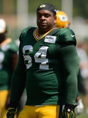 Green Bay Packers defensive tackle Mike Pennel during training camp practice at Ray Nitschke Field on Tuesday, Aug. 5, 2014.