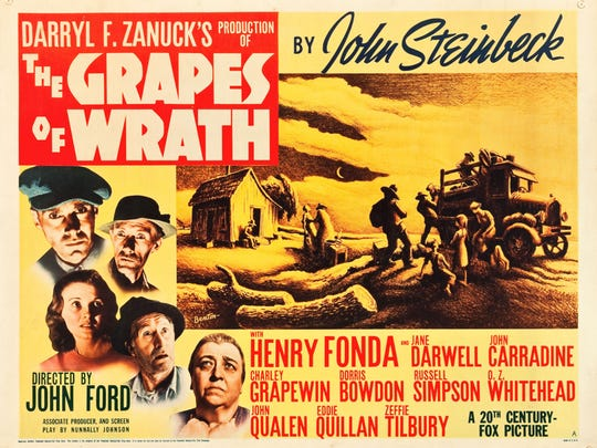 A vintage movie poster for The Grapes of Wrath,  John Ford's moving 1940 adaptation of John Steinbeck's American epic.