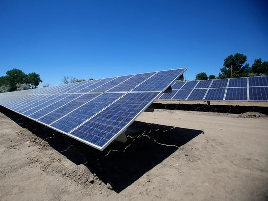 A solar array is pictured off of Western Drive in Aztec. The array was built by Guzman Energy as part of its agreement to provide power to the City of Aztec.