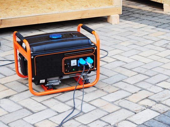Small generator at a construction site.