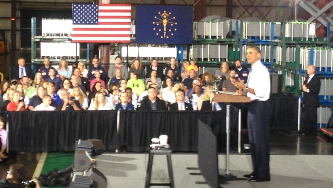 President Barack Obama speaks to guests and 70 employees of Millennium Steel Service warehouse in Princeton, Ind. on Friday, Oct. 3, 2014..