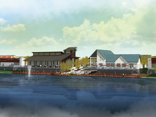 A rendering of the view looking northeast over the