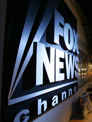 Logo in the newsroom at Fox News Channel in New York City.