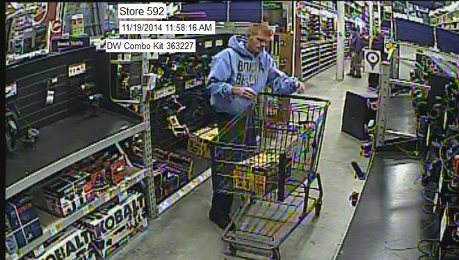 Surveillance images of a man suspected of stealing a tool from Lowe's Hardware on Pine Island Rd