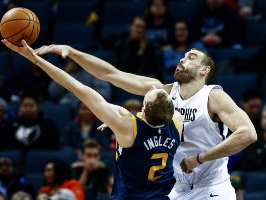 Memphis Grizzlies center Marc Gasol (right) defends