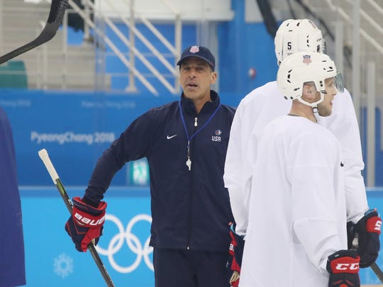 Assistant coach Chris Chelios of the Men's USA Ice