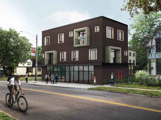 A rendering of a new, $3.8 million housing and retail project called The Coe at West Village, near the intersection of Van Dyke and Coe on Detroit's east side. Construction is set to start in November and wrap up in mid-September 2017.