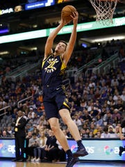 Indiana Pacers forward T.J. Leaf (22) in the first half during an NBA basketball game against the Phoenix Suns, Sunday, Jan. 14, 2018, in Phoenix.