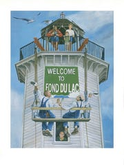 """Welcome to Fond du Lac"" is one of the works by Fond du Lac artist, Tom Remo, during a special exhibit at Thelma Sadoff Center of the Arts (THELMA) opening Friday, June 17. The opening event will feature an hors d'oeuvres reception, a program, and concert by Mission River Band. Proceeds will benefit Parkinson's Research and arts education. Remo was well-known for his community campaigns commissioned by the FDL Convention & Visitors Bureau for Walleye Weekend, the Fall Flyway, Lakeside Winter Celebration, along with two series of limited edition prints ""Landmark Wildlife Art"" and ""Reflections of the Spirit of FDL."""
