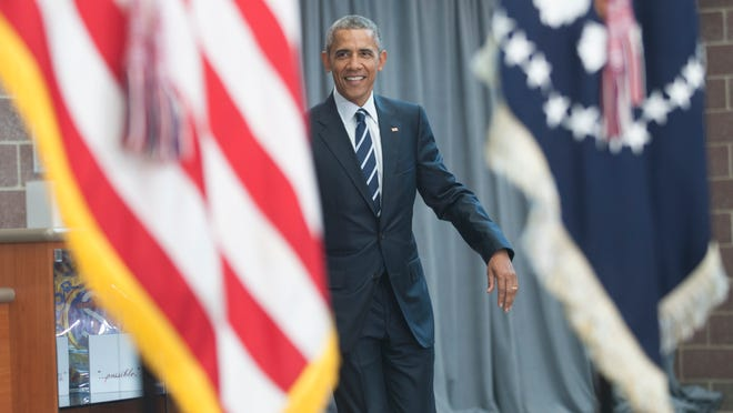 President Barack Obama approaches a stage to speak at the Ray & Joan Kroc Corps Community Center in Camden on Monday. (Chris LaChall/Courier-Post) POOL