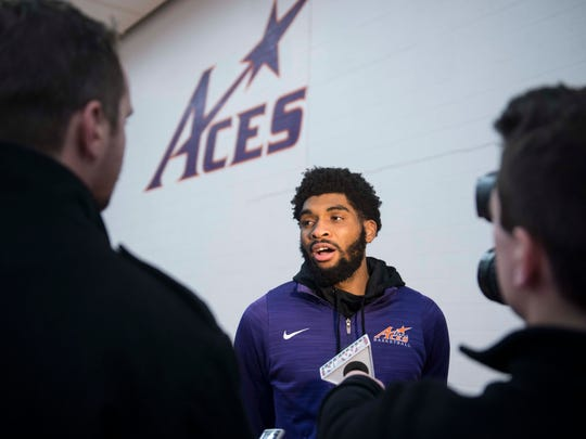 University of Evansville basketball player K.J. Riley is interviewed after his new head coach Walter McCarty was introduced to fans at Meeks Family Fieldhouse on Friday, March 23, 2018. McCarty, an Evansville native was announced as the new University of Evansville mens basketball coach Thursday.