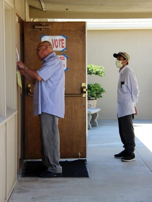 Church of Christ in Tulare readies the polling station.