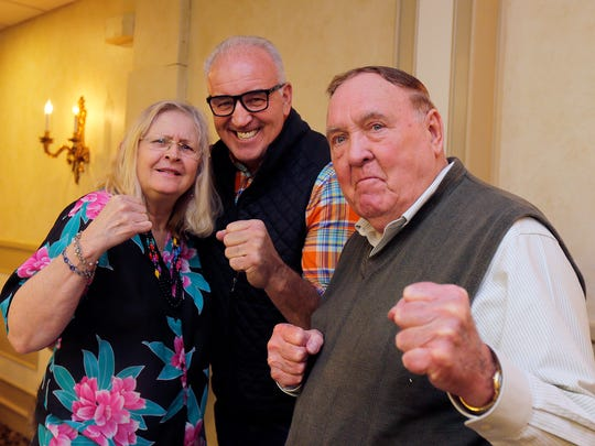 Former heavyweight contender Gerry Cooney with Barbara and Cliff Parcinski of Spring Lake Heights before speaking at the monthly breakfast of the Jersey Shore Sports Alumni in Ocean Township.