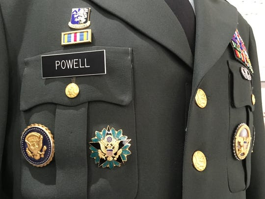 Gen. Colin Powell's uniform is on display in an exhibit - presented by the Petaluma International Military Research Center - at the Palm Springs Air Museum on Wednesday, April 6, 2016.