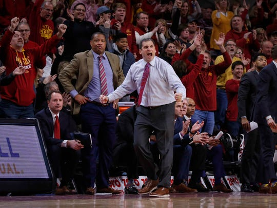 Iowa State mens basketball head coach Steve Prohm celebrates as his team widens the lead in the final minute against Baylor at Hilton Coliseum in Ames on Saturday, Jan. 13, 2018.