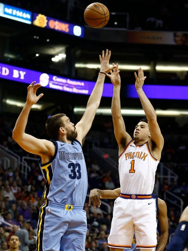 Back from injury, Phoenix Suns guard Devin Booker (1)